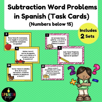 Basic Subtraction Word Problems in Spanish (Problemas de cuento restas 1-15)