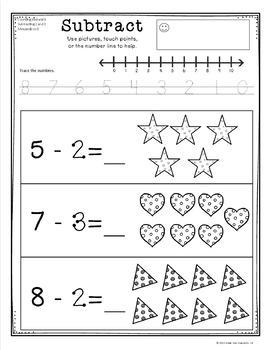 Basic Subtraction to 10 with picture support
