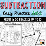 Basic Subtraction to Ten with Picture Support-Set 2