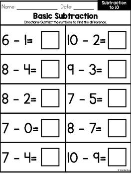 Basic Subtraction to 10 Workbook