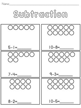 Basic Subtraction with pictures by DCD Special | TpT