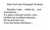Basic Summary Paragraph Template