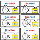 Basic Telling Time Digital Analog Clocks Match To the Hour Puzzles clock centers