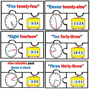Basic Telling Time Work station Puzzles Math Centers Nearest 1 minute one 2nd