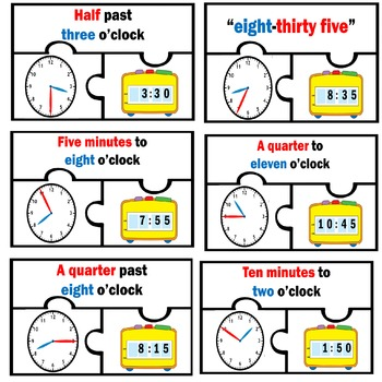 Basic Telling Time Work station Puzzles Math Centers Nearest 5 minutes