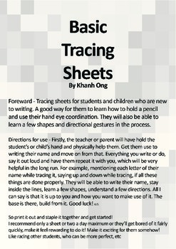 Basic Tracing Worksheets - V.1 (FREE) A4 Sized