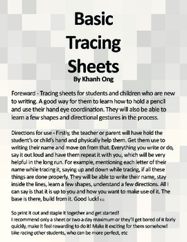 Basic Tracing Worksheets - V.1 (FREE) Letter Sized