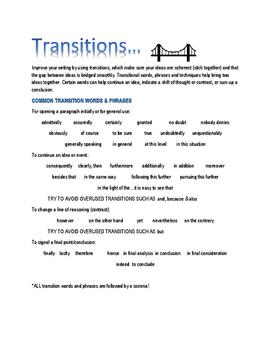 Basic Transitional Phrases Handout