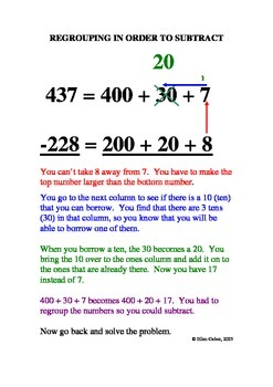 Basic Understanding of Subtraction and Regrouping