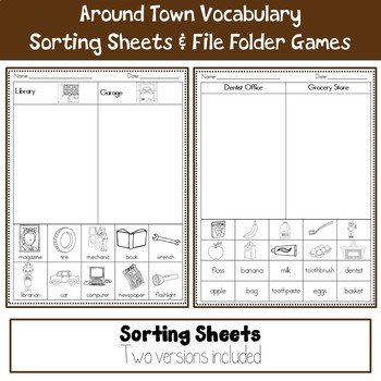 Basic Vocabulary Around Town Matching Sheets and File Folder Game