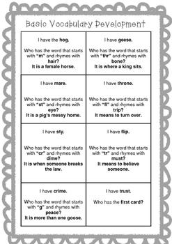 Basic Vocabulary Development Game