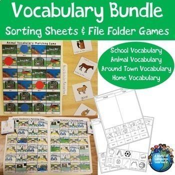 Basic Vocabulary Sorting Sheets and File Folder Games Bundle