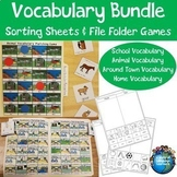 Basic Vocabulary Sorting Sheets and File Folder Games Bundle