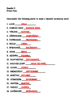 Unscramble Spanish Days Months Classroom Conversation