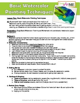 Basic Watercolor Painting Techniques Lesson Plan & Workshe