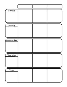 basic weekday planner by lifeskillsma teachers pay teachers