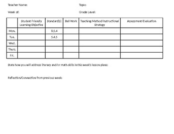 Simple Weekly Lesson Plan Template with Reflection
