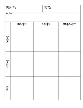 Basic Weekly Lesson Plan Template