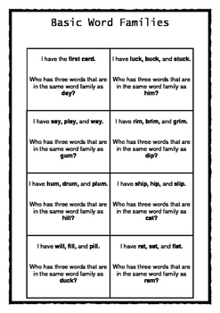Basic Word Families Game