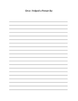 Basic Writing Activity Prompt for Character Ed