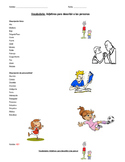 Basic adjectives vocabulary list and visuals