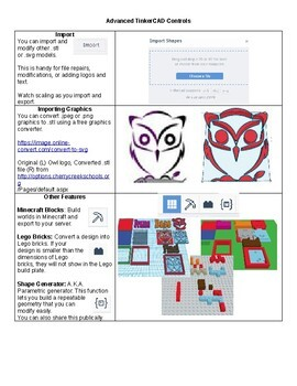 Basic and Advanced TinkerCAD Handouts