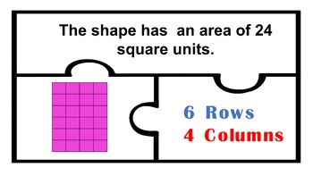 Area puzzles with Columns and Rows Math Work Station Centers 2nd 3rd Grade