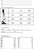 Basic assessment; patterns, rhyme, matching sets, letter recognition