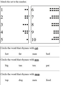 Basic assessment; patterns, rhyme, matching sets, letter recognition