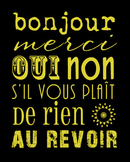 Basic communication words poster - French