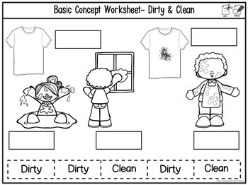 Basic concepts- Black and white printable worksheets