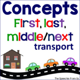 Basic concepts for speech therapy First Next Middle Last