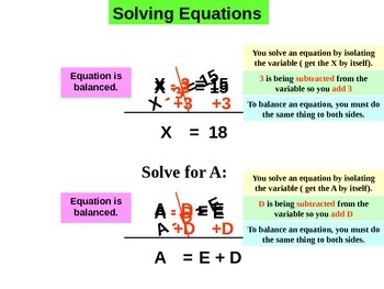 Common Core Equations -  2 steps numeric and parametric
