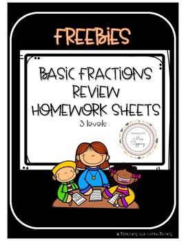 Basic fractions review homework sheet