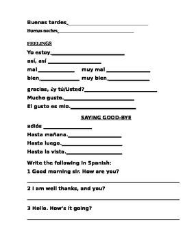 Basic introductions, greetings, goodbye Spanish