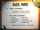 Basic math (Add.,Substra.,Multi.,Division&Fraction, Decimal,Percentage,Metrics)