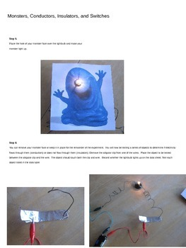 Basic physics circuit lab with conductors, insulators, switches, and monsters