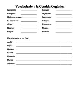 Basic practice homework for Environment Chapter AP Spanish