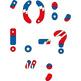 Basic punctuation superhero red blue clip art