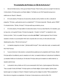 "Basic reading and vocab: El cumpleaños de Príncipe y el ""¡Ñe ñe ñe ñe bu bu!"""