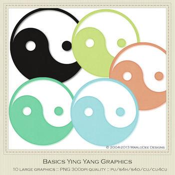 Basics Colors Ying Yang Graphics/Symbols by MarloDee Designs