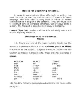 Basics For Beginning Writers 1