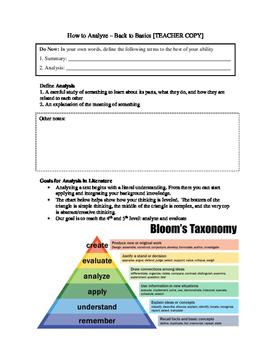 Basics of Analysis - High School Literature