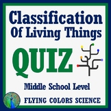 Basics of Classification of Living Things QUIZ (Middle School)
