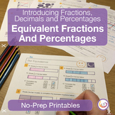 Converting Fractions, Decimals and Percentages Worksheets/