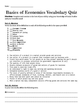 Basics of Economics Vocabulary Quiz
