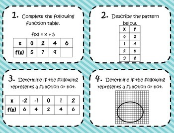 Basics of Functions: Task Card and Poster Set *Aligned to CCSS 8.F.1