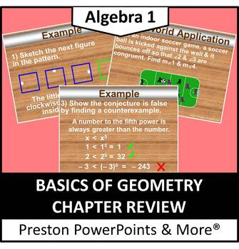 Basics of Geometry Chapter Review in a PowerPoint Presentation