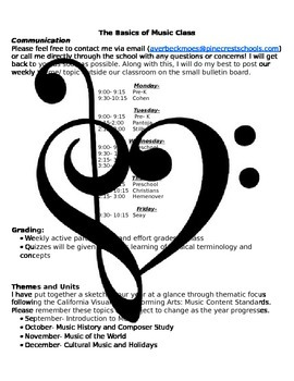 Basics of Music Class- Back to School Packet