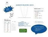 Basics of Quadratics Organizer